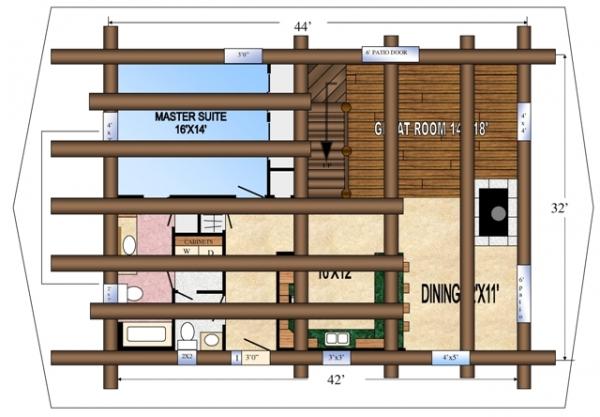 Second Floor Log Floor Joists